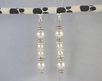 Swarovski earrings, white, ivory pearls, dangling earrings,® MoovClipEar interchangeable earrings