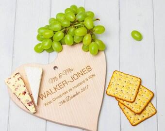 Personalised Wooden Heart Cheeseboard