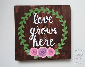 SALE** Love Grows Here // Rustic Painted Wood Sign // Home Decor // Family
