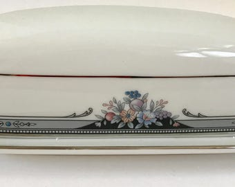 Vintage Noritake Squirewood 4013 Covered Butter Dish
