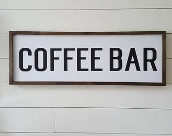 Handcrafted Wood Home Decor Sign - Coffee Bar