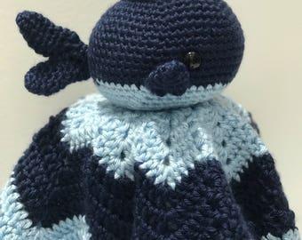 Crochet Whale Amigurumi Lovey, Handmade, Blue