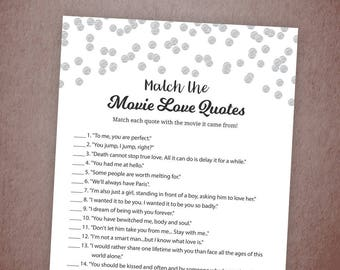 Match the Movie Love Quotes, Movie Love Quotes Bridal Shower Game Printable, Silver Confetti, Famous Movie Quote Game, Bachelorette, A003
