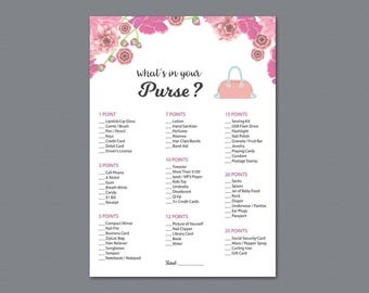 Whats in your Purse Game Printable, Pink Floral Watercolor, Bridal Shower Activity, Wedding Shower Games, Purse Raid, Purse Hunt, A005