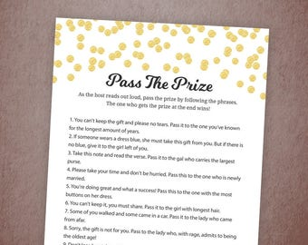 Pass the Prize Game, Pass the Gift, Pass the Parcel Rhyme Printable, Gold Confetti, Bridal Shower, Baby Shower, Wedding Shower Games, A001