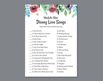 Disney Love Songs Match Game, Match the Disney Love Songs Printable, Disney Bridal Shower Games, Watercolor Floral, Wedding Shower, A007