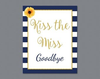 Kiss the Miss Goodbye Printable Sign, Kate Spade Stripes Bridal Shower, Confetti Party Sign, Wedding Shower Sign, Instant Download, A027