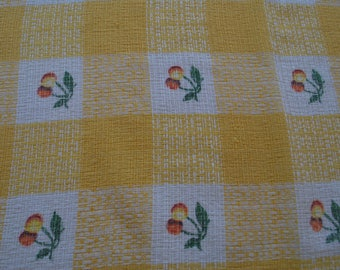 Yellow Cherry Check Tablecloth