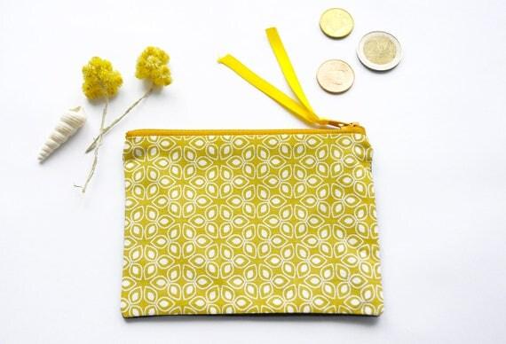 Porte monnaie en tissu motif blanc sur fond jaune dos noir - Porte monnaie en tissu ...