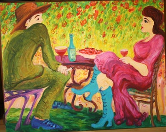 Love stories, painting on canvas, 90/110 cm