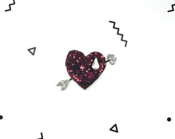 Brooch heart and arrow sequin Hand Made