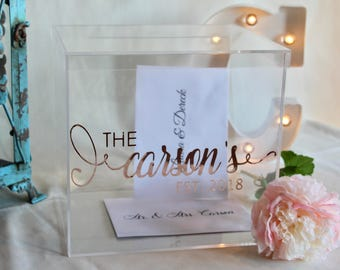 Personalized Wedding Card Box I Acrylic With Lid
