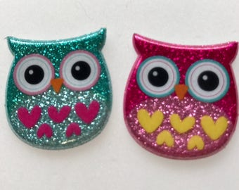 Owl Xray Markers Glitter Teal/Pink Hearts