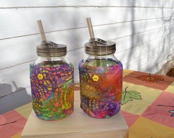 Mason Jar Cozies Quart Jar Insulated (set of two) Pink/yellow/purple batik