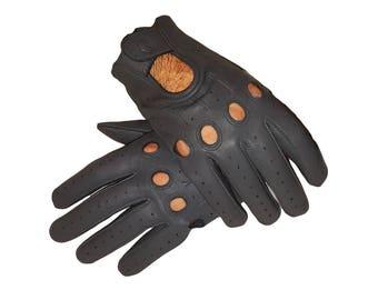 Grey Sheepskin Genuine Leather Driving gloves