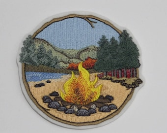 Outdoor Iron-On Patch. Embroidered Patch. Sew-on Patch. Glue-on Patch. Camping Lovers Patch. Walk in Woods Campfire Patch