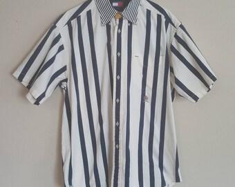 Vintage Tommy Hilfiger Navy/White Striped Button Up Medium