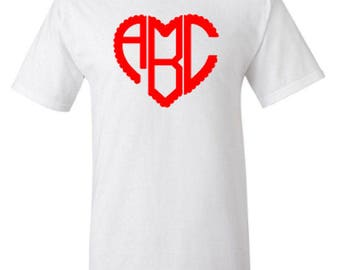 Personalized Scalloped Heart Monogram Adult Unisex Tshirt