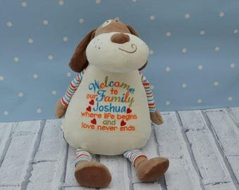 personalised teddy bear dog adoption gift new baby christening gift Christmas gift cubbies/cubby bear