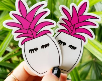 Pineapple Sticker, Pineapple Decal, Fake Eyelashes, Macbook Sticker, Lashes, Yeti Sticker, Pineapple Print, Eyelashes, False Eyelashes
