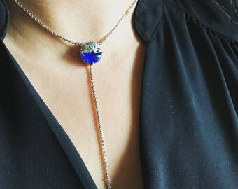 Gemstone Lariat necklace, Gemstone Y necklace, Valentines Day gift, Girlfriend gift, Minimalist Bridesmaid Jewelry Gift, Dainty lariat