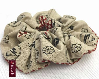 Chou-Chou Ponytail Holder Hair Scrunchie Fuji Beige Red Japanese style fabrics Elastic Hair Tie Women's Hair Accessories- Free Shipping!!