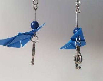 Navy blue butterfly origami earrings