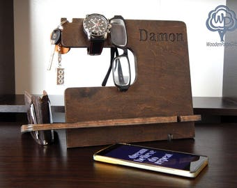 Personalization Docking Station gift for groomsmen Gift for Dad Wallet and Watch Organize Dad Birthday Gifts for Men Birthday desk organizer