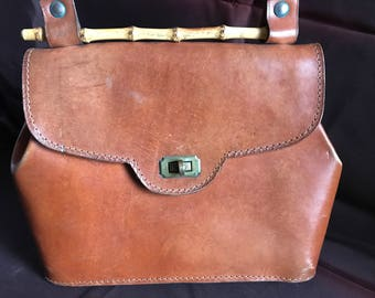 Vintage brown leather purse with bamboo detail