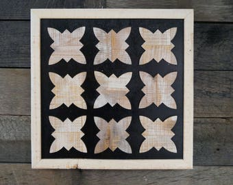 Modern Rustic Artwork Tile with Black and White