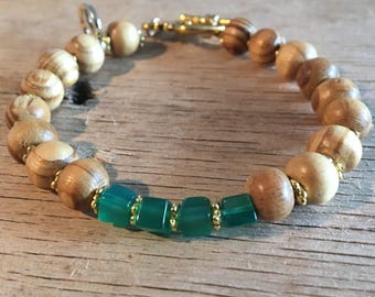 Bohemian Stone & wood Beaded Bracelet Green Onyx Large Bead Bracelet Bohem style Jewelry Wooden Beads Brown Green Beaded Bracelet Gift for