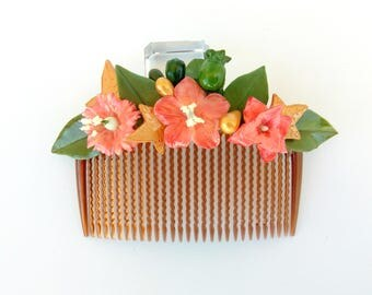 Peinecillo of flamenco or guest, with cold porcelain flowers, comb, hair comb, Peinecillo color Carey