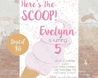 Here's The Scoop / Ice Cream Birthday Party Invitation