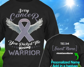 Personalized Brain Cancer Awareness Grey Ribbon Warrior Long Sleeve Shirt Oversized Christmas Sweater Women Custom Survivor Gift Cloth