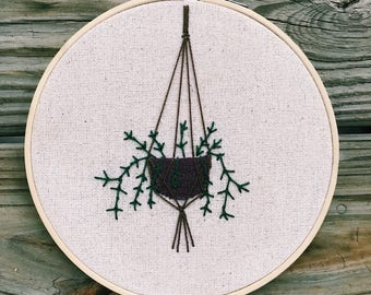 Hanging Plant Embroidery Hoop