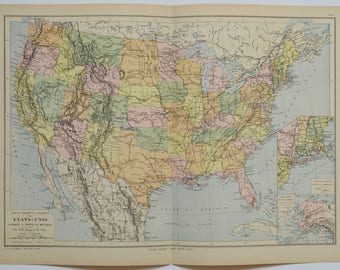1895 Large United States Map Antique Map Vintage Us Map Antique United States