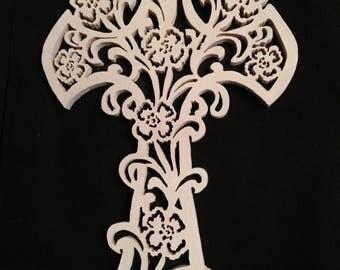 Wooden cross, wood carving, Cross of Christmas, Cross wall set, Cross set flower