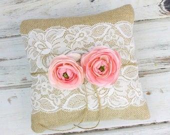 Ring Bearer Pillow - Rustic Wedding - Wedding Ring Holder - Elegant Barn Wedding -  Woodland Wedding - Custom Wood Box - Wedding