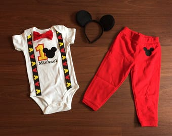 Mickey Mouse inspired first birthday baby boy outfit, baby boy 1st Birthday Party
