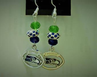 Crystal & Silver Seattle Seahawk earrings