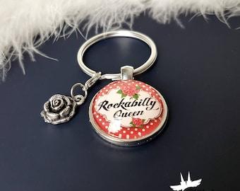 Rockabilly key pendant, Rockabilly key chain, rocknroll trailer, rocknroll key chain, pin up