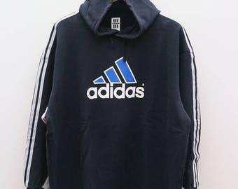 Vintage ADIDAS Treline Big Logo Big Spell Sportswear Streetwear Jogging Black Hoodies Sweater Sweatshirt