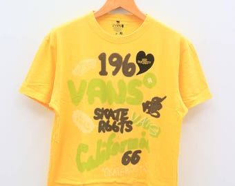 Vintage VANS Skateroots California Streetwear Yellow Tee T Shirt Size XL