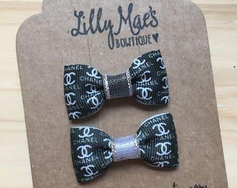 Chanel inspired Mini Tuxedo Hair Bows, baby & toddler hair clip, mini bow