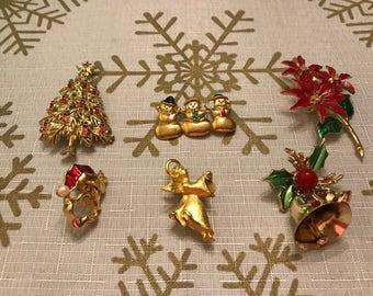 6 Holiday Pins/Brooches