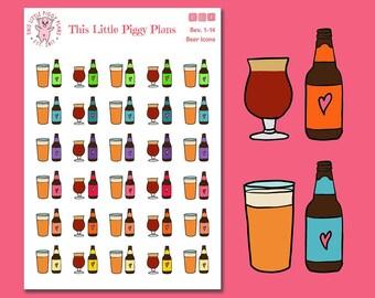 Beer Icons Planner Stickers - Beer Planner Stickers - Craft Beer - Pub - Brewery - Drinking Beer Planner Stickers - Beer Crawl - [Bev 1-14]