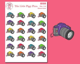 Camera Icons Planner Stickers - Camera Planner Stickers - Photography Stickers - Cameras - Hobby Stickers - Picture Day - [Misc 1-40]