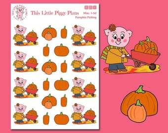 Pumpkin Picking Planner Stickers - Oinkers the Pig - Pumpkins Planner Stickers - Pumpkins - Autumn Stickers - Fall Stickers - [Misc 1-50]