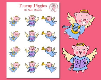 Teacup Piggies - Christmas Angels Oinkers - Mini Planner Stickers - Christmas Stickers - Christmas Caroling - Holiday Stickers - [517]