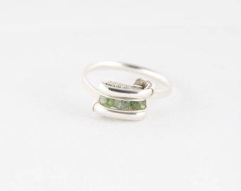 Demantoid Garnet (x3) Sz 7 Sterling Silver Wire Wrap Ring